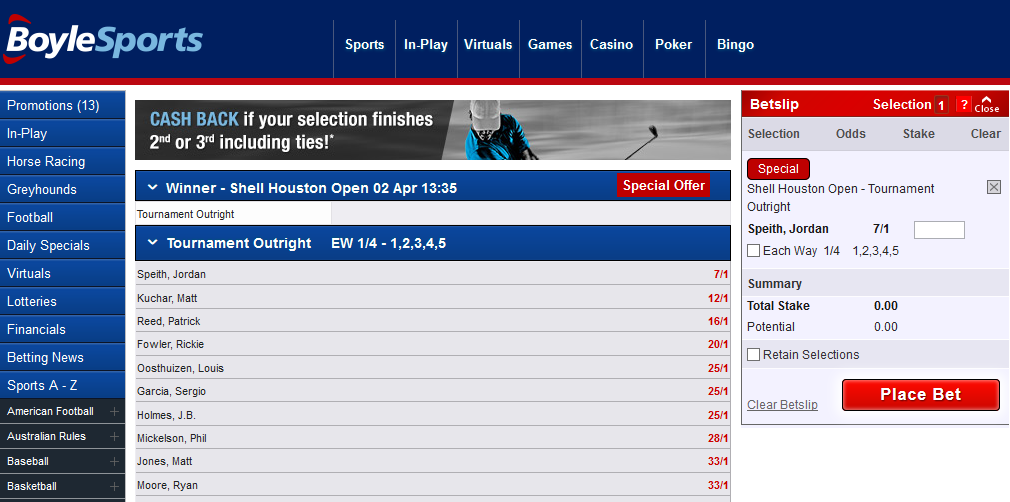 Example of a fixed-odds bookmaker website